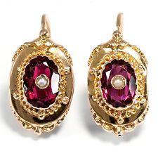 Frankreich um 1890: Ohrringe aus 750er Gold, Almandinglas & Perlen Earrings