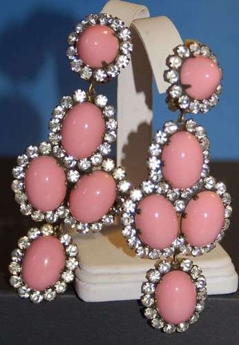 Huge Kenneth J Lane KJL Coral Cabachon Rhinestone Earrings Super Long Sold for $ 362