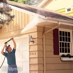 A pressure washer cleans old paint fast. Here's how to pressure wash your whole house so that the new coat of exterior paint will stick better and last longer.