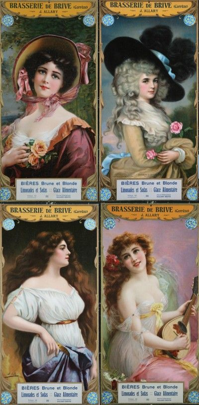 French Victorian beer advertisement campaign.   The differences between the dark and light beer varieties are attractively illustrated by four beauties, each with a defined hair coloring, and season of dress style.