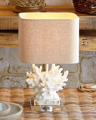 """White """"Coral"""" Lamp - Horchow (I've seen a similar one at Marshall's, very inexpensive, but with a black base (the base could always be painted)."""