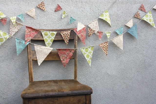 English Cottage Chic Wedding Pennant Banner Bunting