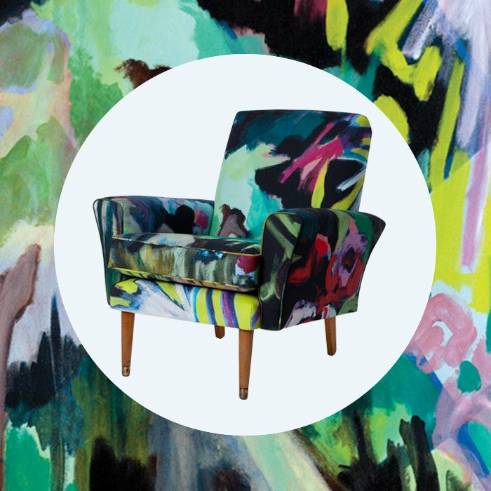 Art for Sale EDIT's arty chair in 'Giraffes' cotton canvas is now on sale. Was $1750, now on sale for $1225.