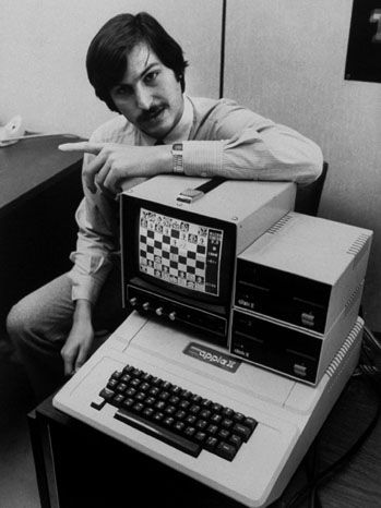Steve Jobs with an Apple II in 1980, the year the company went public......(Seriously? 1980 was not that long ago, was it?)