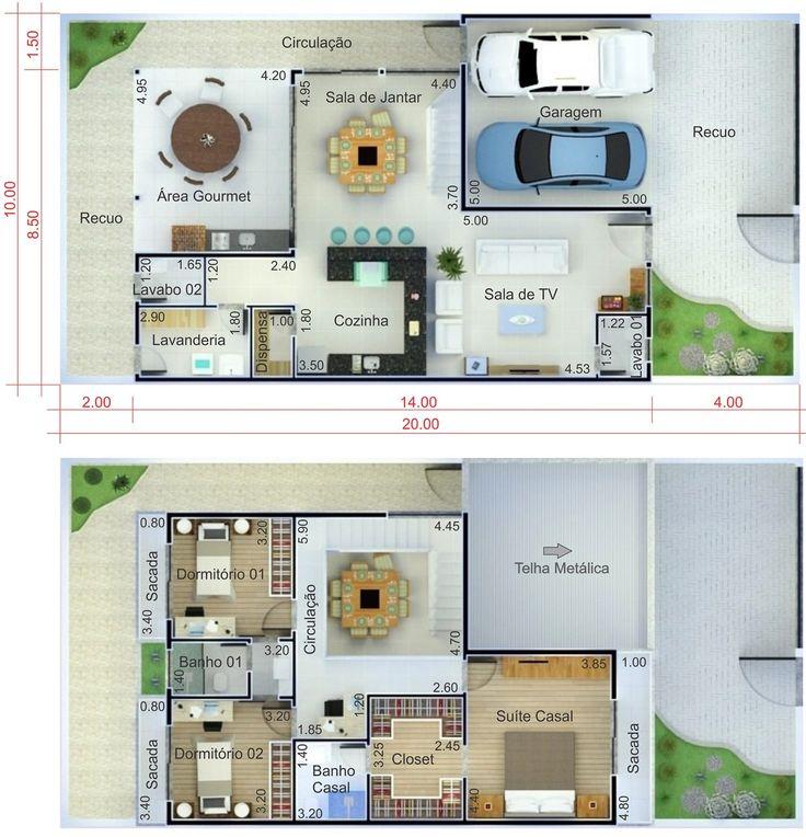 Plano de casa con techo integrado plano para terreno for Planos casas sims