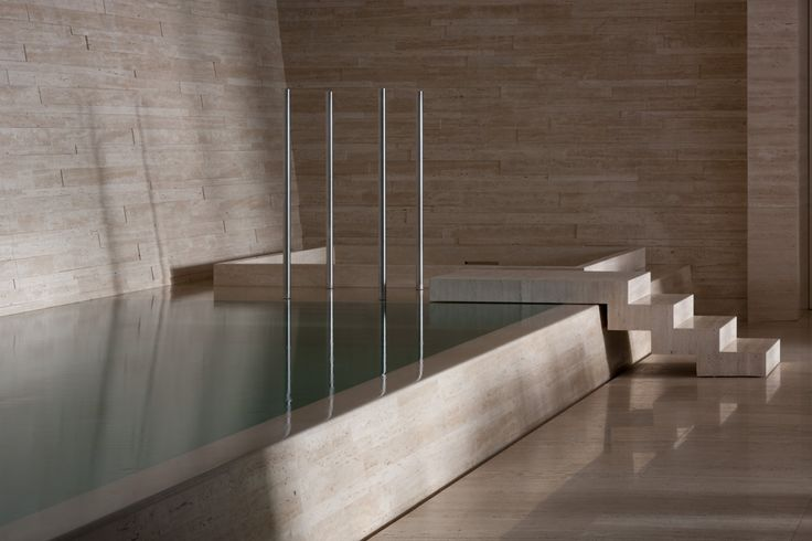 Great minimalist pool and spa and bold use of single material by Stephen Jolson. Pinned to Pool Design by BASK Pool Design.