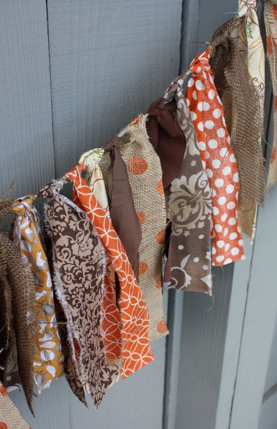 SALE 20% OFF Best Seller, Fall Fabric Bunting, Shades of Brown and Burlap Fall Bunting, Fall Holiday Home Decorations, Photo Prop Fall Swag