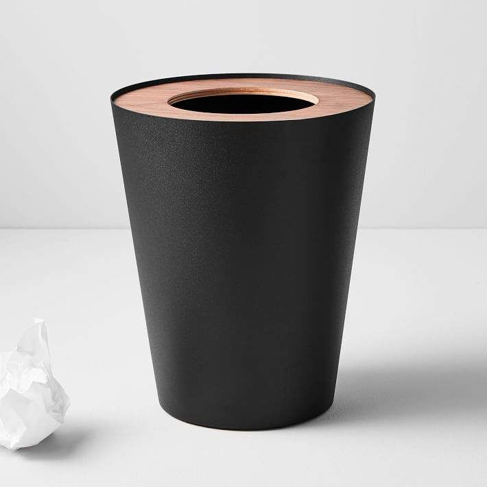 West Elm Rim Trash Can Round In 2020 Bathroom Trash Can Home Office Accessories Trash Can