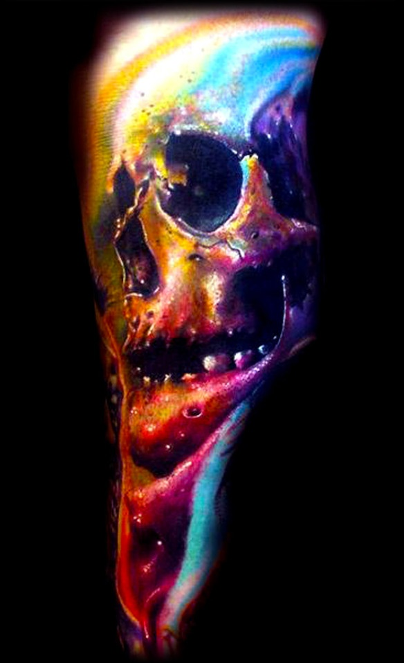 Josh Woods...sick tattoo artist..on the show Inkmaster my dad has several skull tattoos so he would be so disappointed in me if I got one but I LOVE these colors! Oh my the person takes color AMAZING!