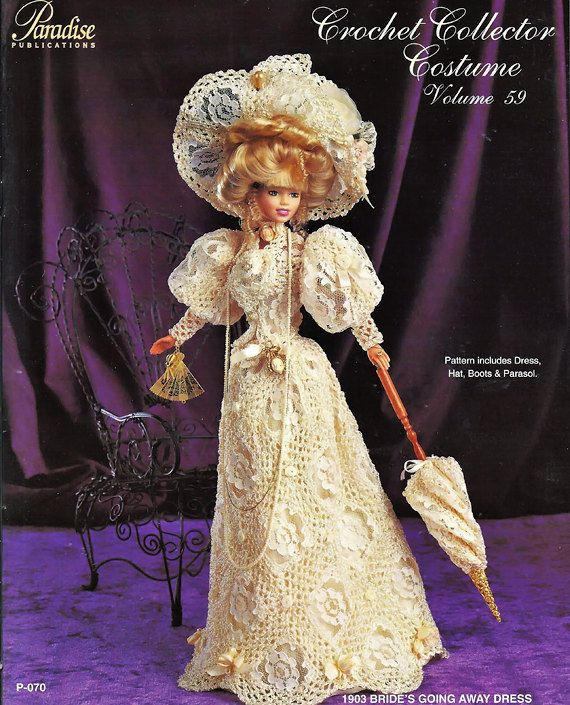 Crochet Collector Costume Volume 59 / 1903 Bride's Going Away Dress / Fashion Doll  Crochet Pattern P-070