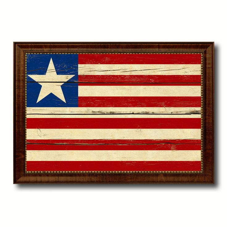 Liberia Country Flag Vintage Canvas Print with Brown Picture Frame Home Decor Gifts Wall Art Decoration Artwork