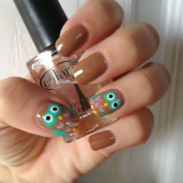 Owl nail art with tutorial.