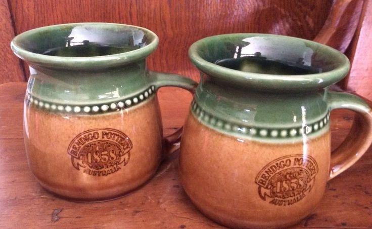 2 X Bendigo Pottery Australia Cups mugs 9cm high X 8 Cm Across Rim Green Brown