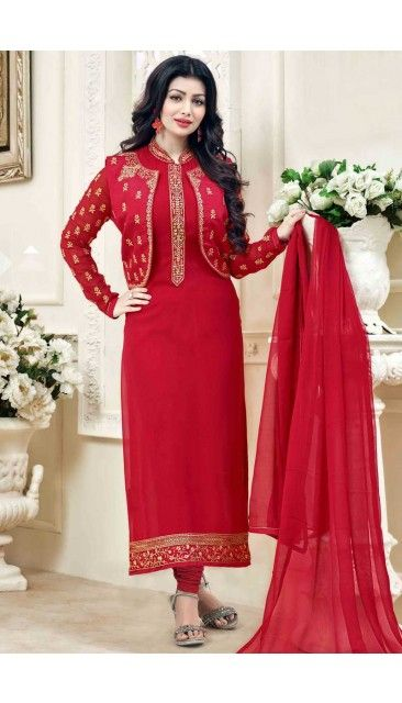 Bollywood Ayesha Takia Red Georgette Churidar Suit With Dupatta - DMV14825