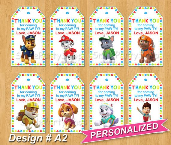 *******Welcome to Paw Patrol Party!*******  This item digital Paw Patrol Favor Tags, size 2x3.5. Includes 7 Paws and Ryder! The page size is 8.5x11, JPEG and PDF format, 8 tags on sheet, ready to print.  Personalized with your party details!  Please write at note to seller or write me in CONVO: - Childs Name  Collection items: Paw Patrol Invitations - http://etsy.me/1PffAEv Paw Patrol Thank You Cards - http://etsy.me/1OEkMfg  This is a Digital Product, no physical item with be shipped to…