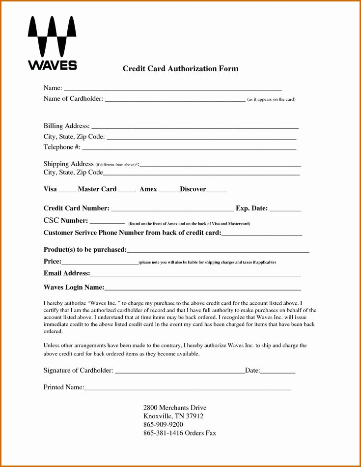 50 awesome credit card authorization form template