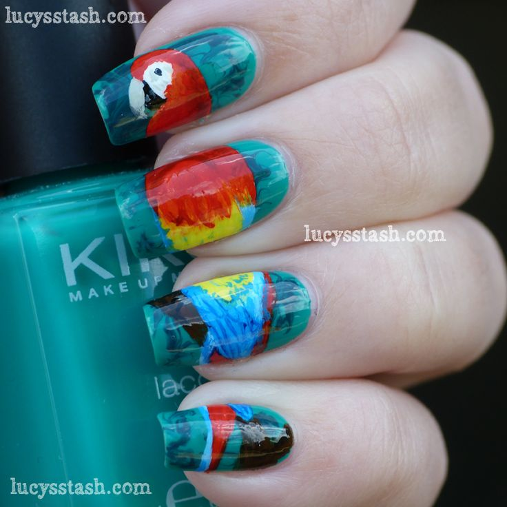 Lucy's Stash: Parrot nail art manicure for Summer Challenge - Scarlet Macaw in the jungle  http://www.lucysstash.com/2012/06/parrot-nail-art-manicure-for-summer.html