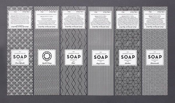 London Fields Soap Company - branding and packaging design based on Art-Deco textile patterns.