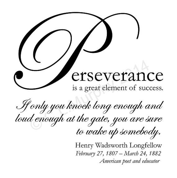 Digital DOWNLOAD Perseverance Henry Wadsworth Longfellow Quote Success Home Decor 5 x 5 Word Art