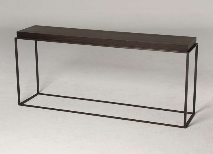 Con026 italian dark wood with dark metal frame console for Metal and wood console tables