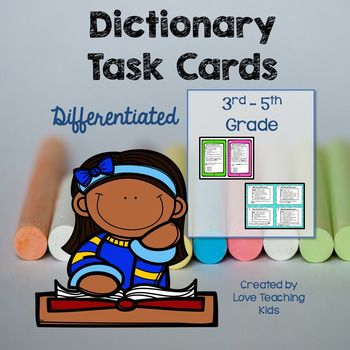 Dictionary Skills Task Cards- Differentiated