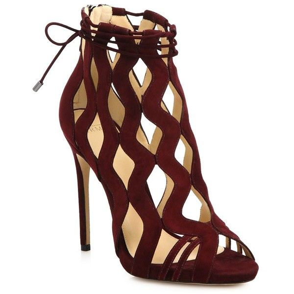 Alexandre Birman Loretta Sue Suede Cutout Sandals (£515) ❤ liked on Polyvore featuring shoes, sandals, heels, sapatos, apparel & accessories, red, red heel sandals, red heel shoes, red ankle strap sandals and caged sandals