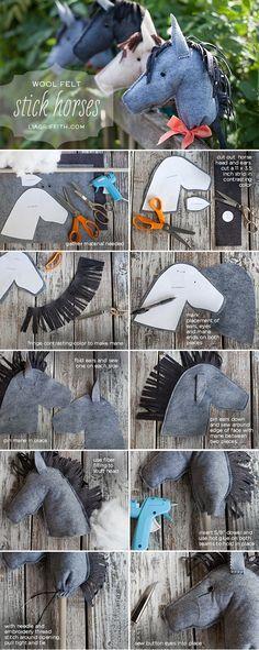 DIY felt stick horses for kids. We made wooden stick horses for party favors, then had stick horse races.