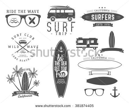 Set of Vintage Surfing Graphics and Emblems for web design or print. Surfer, beach style logo design. Surf Badge. Surfboard seal, elements, symbols. Summer boarding on waves. Vector hipster insignia.