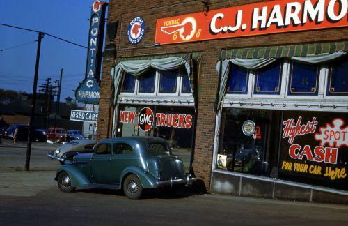 "urbancentury: "" Pontiac GMC Dealership - C.J. Harmon's. Circa: 1946. """