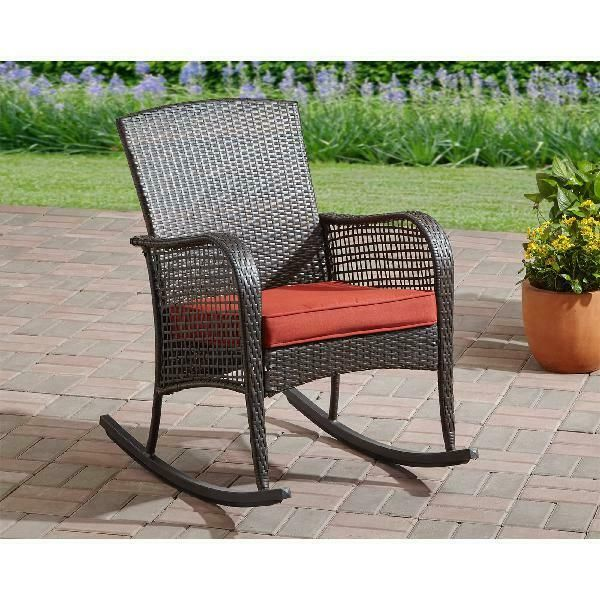 Brown Wicker Outdoor Rocking Chair Red Cushion Patio Lounge Chair Yard Furniture Smartdealsmar Outdoor Wicker Rocking Chairs Wicker Rocking Chair Patio Chairs