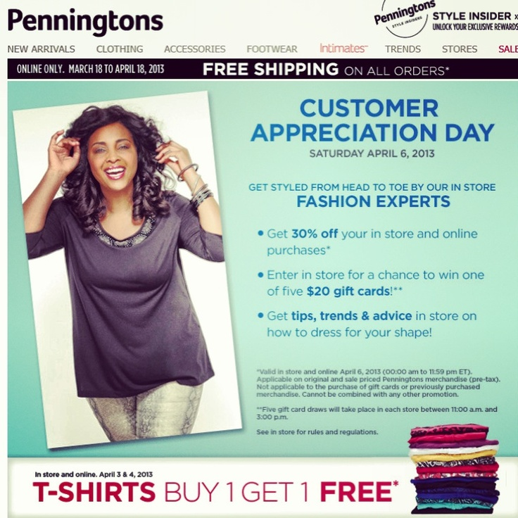 Deal Alert (CDN/US). Penningtons Customer Appreciation Day 4/6, 30% Off Online and Instore Buy 1 Get 1Free T-Shirts Limited Time Take An Extra 50% Off Already Reduced Merchandise 30% Off Bras Happy Shopping!  #deal #alert #penningtons #customerappreciationday #online #instore #bogo #tshirts #limitedtime #reducedmerchandise #bras #shopping #plussize #clothing #women #sale