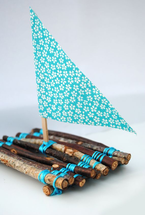 """Handmade boat made from twigs, string, a lollipop stick & some paper - will it float or sink? ("""",)"""