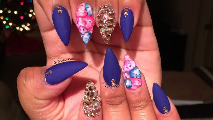 Ombre Flowers & Mixed Bling Acrylic Nails