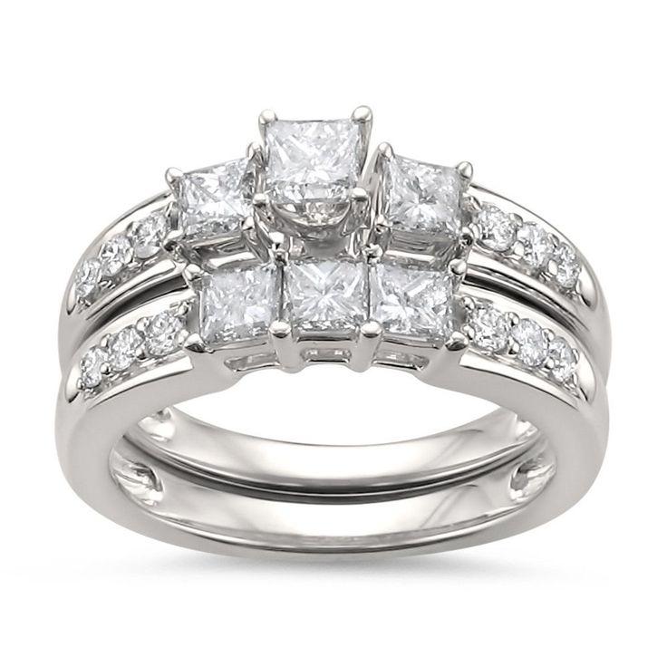 14k White Gold Princess-cut & Round Diamond Engagement Bridal Set Wedding Ring (1 1/2 cttw, H-I, I1-I2)