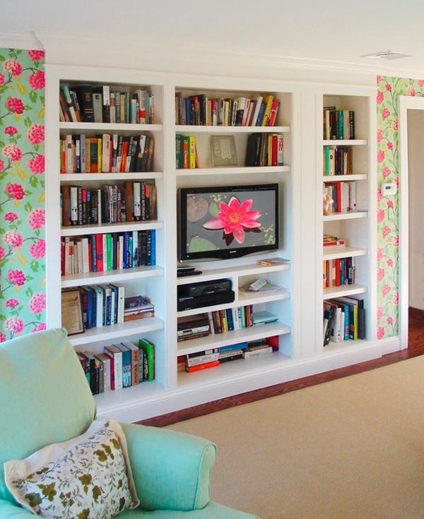 built in bookshelves with tv