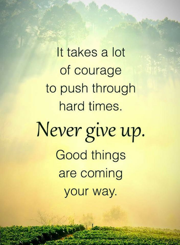Quotes It takes a lot of courage to push through hard times. Never give up. Good things are coming your way.