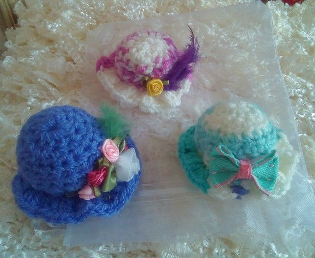Three Miniature Cute Hat Brooch Pins, Vintage Style Brooch, Handmade Jewellery £10.00