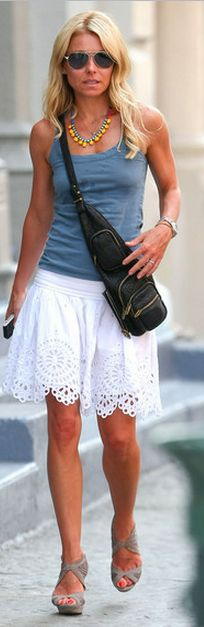 Kelly Ripa: Skirt and top - Isabel Marant Shoes - Fendi Purse - Alexander Wang Necklace - Tom Binns Same skirt in black Isabel Marant Eyelet Skirt Same shirt in black Étoile Isabel Marant / Joseph Tank