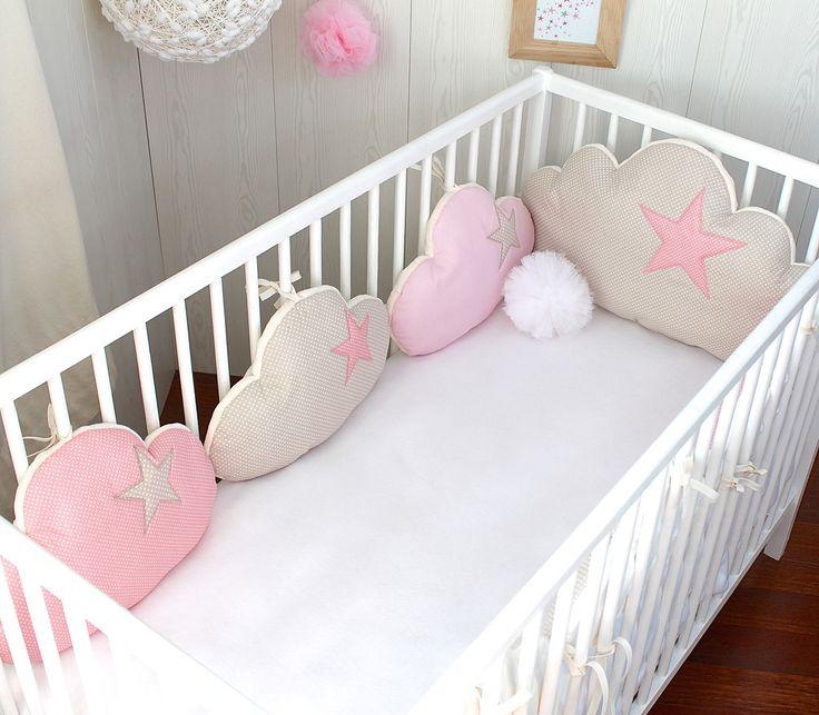 tour de lit bb fille nuages 7 coussins ton beige et rose clair - Linge De Lit Pour Berceau Fille Mini