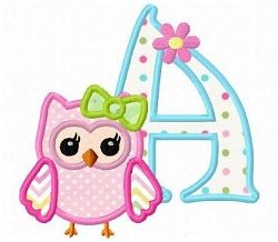 Girl Owl Applique Letters | Featured Products | Machine Embroidery Designs | SWAKembroidery.com Fun Stitch