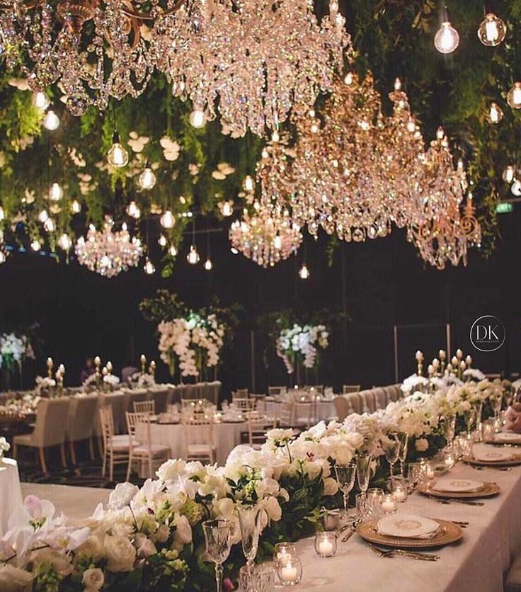 "1,408 Likes, 12 Comments - Pnina Tornai (@pninatornai) on Instagram: ""Chandeliers and flowers suspended from the ceiling? Yes please! ・・・ Styling and concept design…"""
