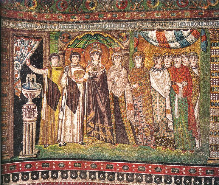 San Vitale Ravenna, mosaic of Empress Theodora entering the church bearing the wine for the sacrament