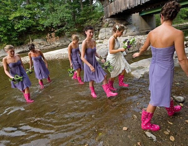 If you're a little rustic, rubber boots can be a fun switch for the wedding photos on a rough and wet Atlantic day.