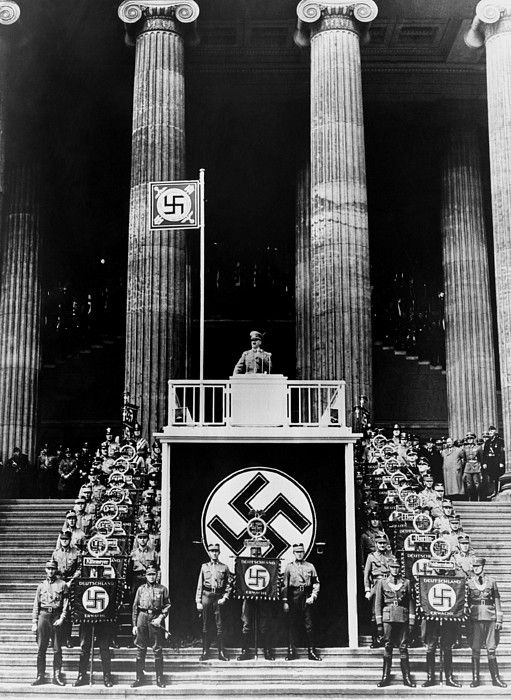 Adolf Hitler, at the May Day celebration, in the Berlin Lustgarten, 1938