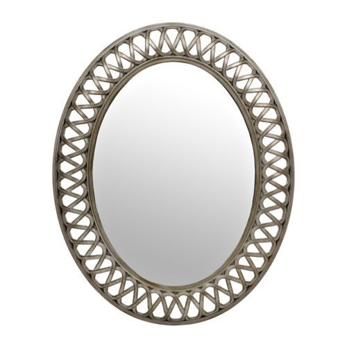 antique silver weave oval mirror oval
