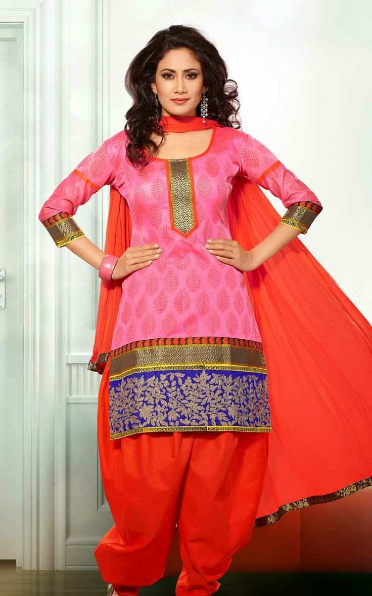 PINK & RED CHANDERI COTTON SALWAR KAMEEZ - RUD 33003D