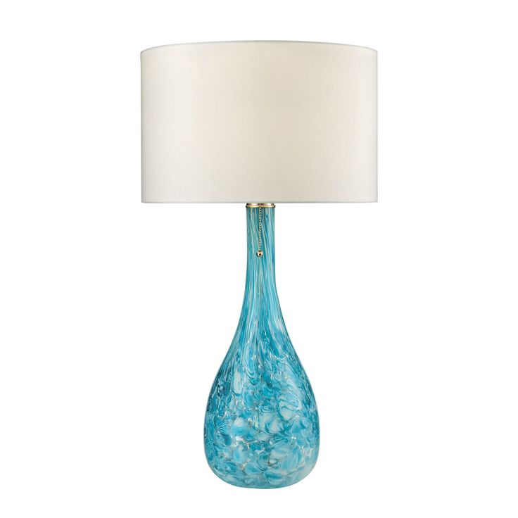 Dimond Mediterranean Blown Glass Seafoam Table Lamp (100 Watt Medium Bulb, Seafoam Green Finish), White