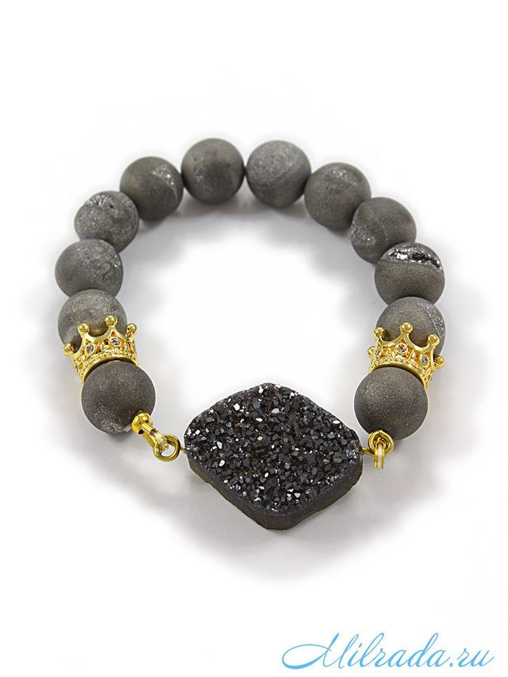 Браслет из агата с друзой серый   bracelet, Druze, natural stones, agate, браслеты из камней, браслеты с подвесками, браслеты на резинке. www.milrada.ru