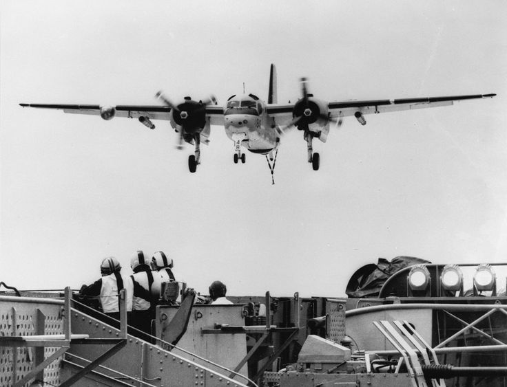 Grumman S-2E Tracker 848, hook down, and ready to trap aboard HMAS Melbourne. Note the underwing stores. Photo RAN.