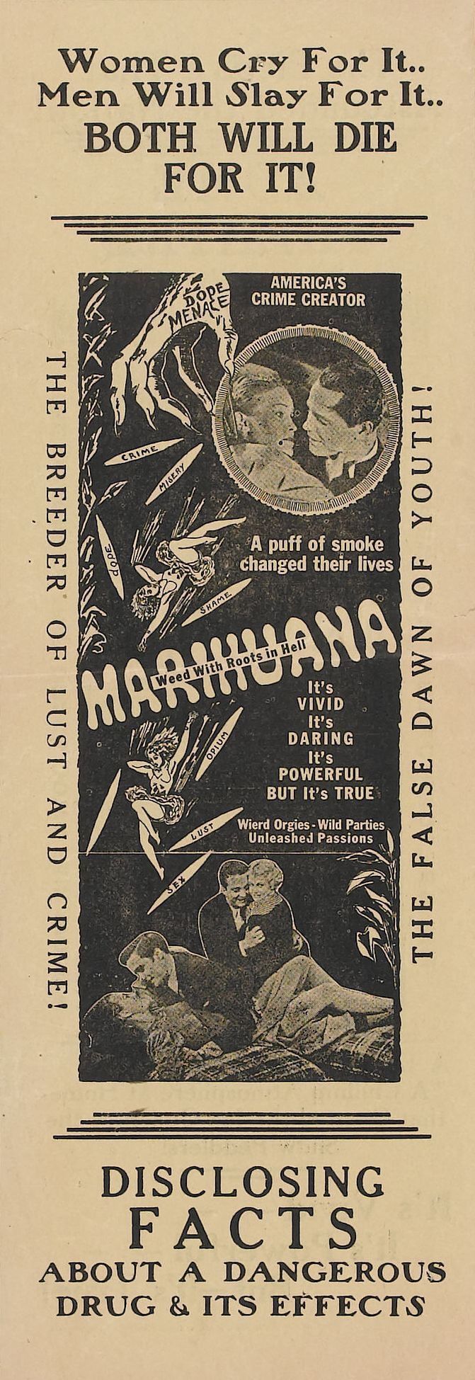 Vintage antimarijuana ad. Marijuana is far less dangerous than alcohol, tobacco, prescription drugs, cocaine, meth, etc. Make easy, small mints for safe pain relief or enjoyment!  MARIJUANA - Guide to Buying, Growing, Harvesting, and Making Medical Marijuana Oil and Delicious Candies to Treat Pain and Ailments by Mary Bendis, Second Edition. Just $2.99 for great e-book!  www.muzzymemo.com
